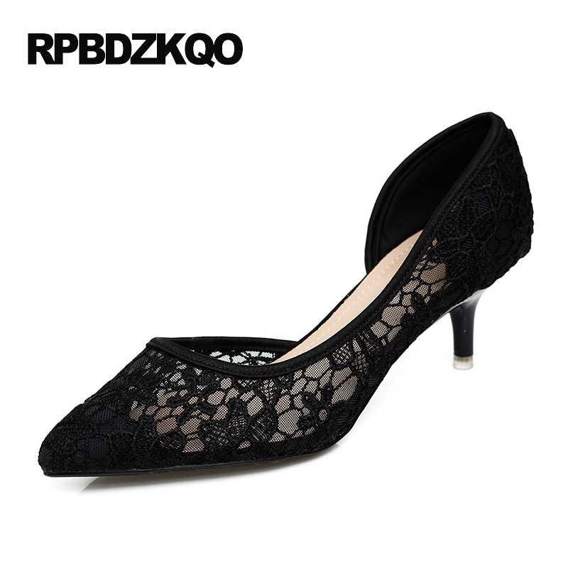589791ce5c8 High Heels Pointed Toe Ladies Walking Pumps Size 4 34 Shoes Medium Kitten  Black Elegant Flower