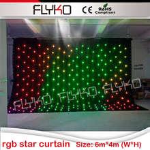 RGB светодиодный занавес звезды Свадебные фон огни 6×4 м