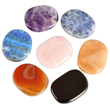 7pcs/Pack Palm Massage Natural Energy Stone SPA Chakra Crystal Gemstone Mineral Reiki Healing 45*35mm Jade Massager Health Care