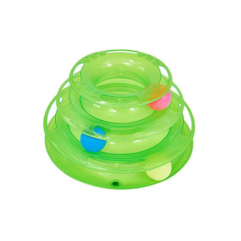 Três níveis de brinquedo do gato do animal estimação torre faixas disco inteligência gato diversão triplo disco brinquedos do gato bola formação placa de diversões