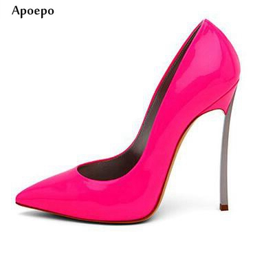 Apoepo Sexy High Heel Shoes 2018 Pointed toe Woman Slip-on dress shoes Thin heels wedding heels office lady shoes stiletto heels newest flock blade heels shoes 2018 pointed toe slip on women platform pumps sexy metal heels wedding party dress shoes