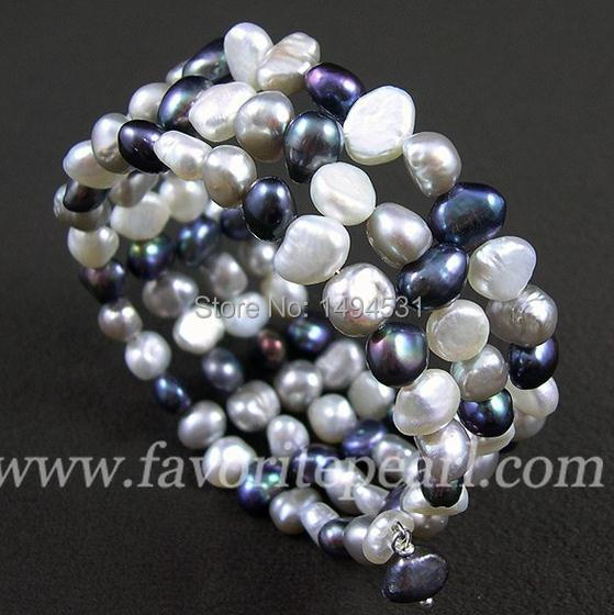 Wedding Pearl Jewelry – Triple Row 7-8mm Mixes Gray Color Natural Freshwater Pearl Bracelet – Free Shipping