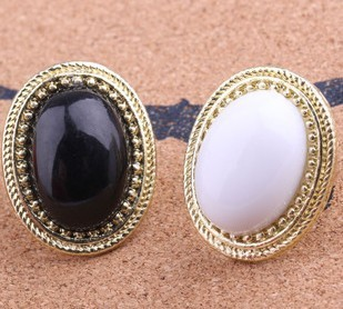 Bohemian temperament black oval gems stone ring adjustable full on wholesale