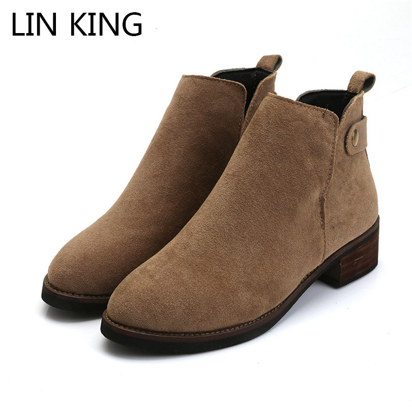 LIN KING Leisure Square Heel Women Pumps Round Toe Slip On Pu Leather Shoes For Lady Spring Autumn Ankle Shoes Solid Casual Shoe lin king fashion pu leather women flats shoes round toe loafers comfortable slip on casual shoes solid breathable girl lazy shoe