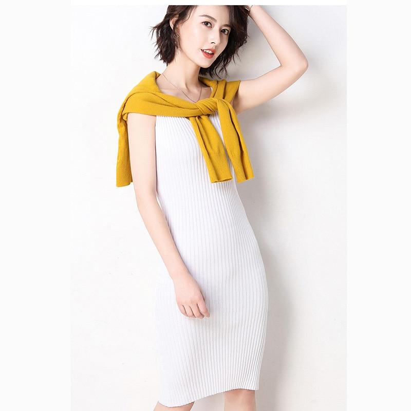 Nagodo Sleeveless Bodycon Dress 2019 New Summer Casual Knitted Dresses Women V-neck Knee-length Striped Tank Dress robe femme