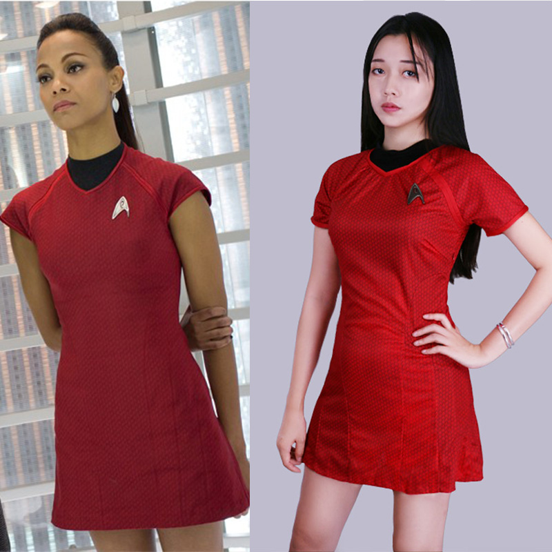 Cosplay Star Trek Into Darkness Star Fleet Uhura Costume with Badge Dress Cosplay  Red Halloween Uniform