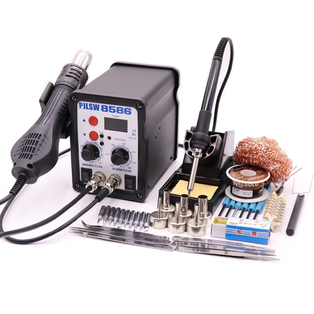 PJLSW 750W 2 In 1 SMD Equipment Rework Station Eruntop 8586 8586+ Hot Air Gun + Solder Iron + Heating Element