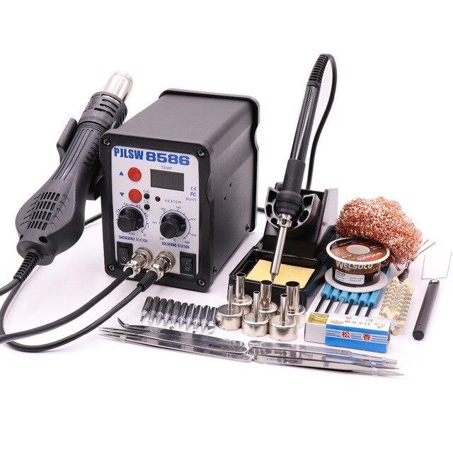 PJLSW 750W 2 in 1 SMD Equipment Rework Station Eruntop 8586 8586+ Hot Air Gun + Solder Iron + Heating Element