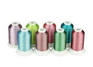 Металлическая нить для вышивки, 8 ярких конфетных цветов в качестве машинной/ручной нити для вышивки