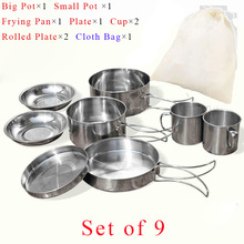 Stainless Steel Camping Cookware Frying Pan With Portable Bags Hiking Picnic Set Heat Exchanger Pot Cup Dish Kettle Cooking Pots fhc052 76 3 0 h original plate heat exchanger stainless steel brazing exchanger