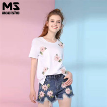 Mooishe Casual Women Two Pice Set White T Shirt 3D Floral Beading Appliques + Short Jeans Rippes Pink Flower Women Suit