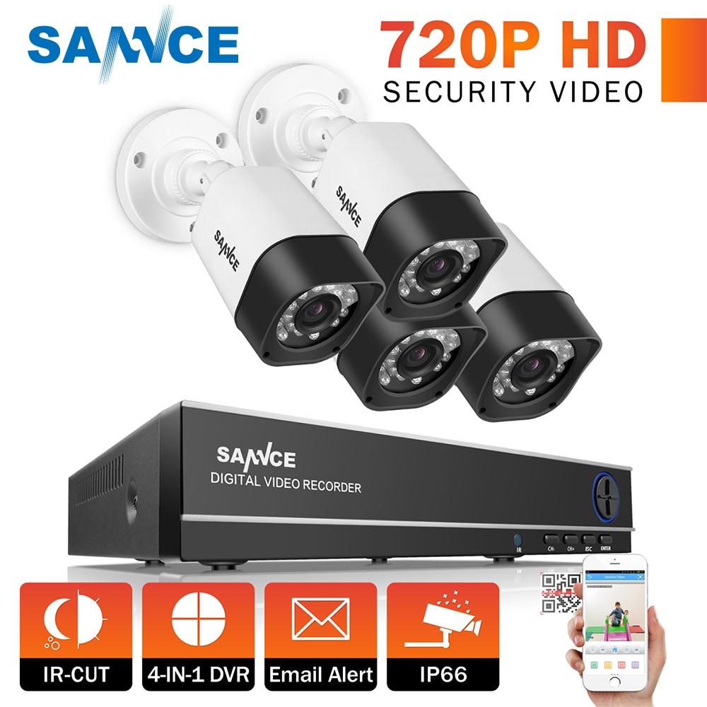 SANNCE 4CH 720P CCTV System 1080N DVR Kit 4pcs 720P Security Cameras CCTV outdoor Home Video Surveillance kit цена