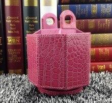5-слот мода octagon вращающихся домашнего офиса вращающегося рабочего стола кожаный хранения box дело розовый 260F