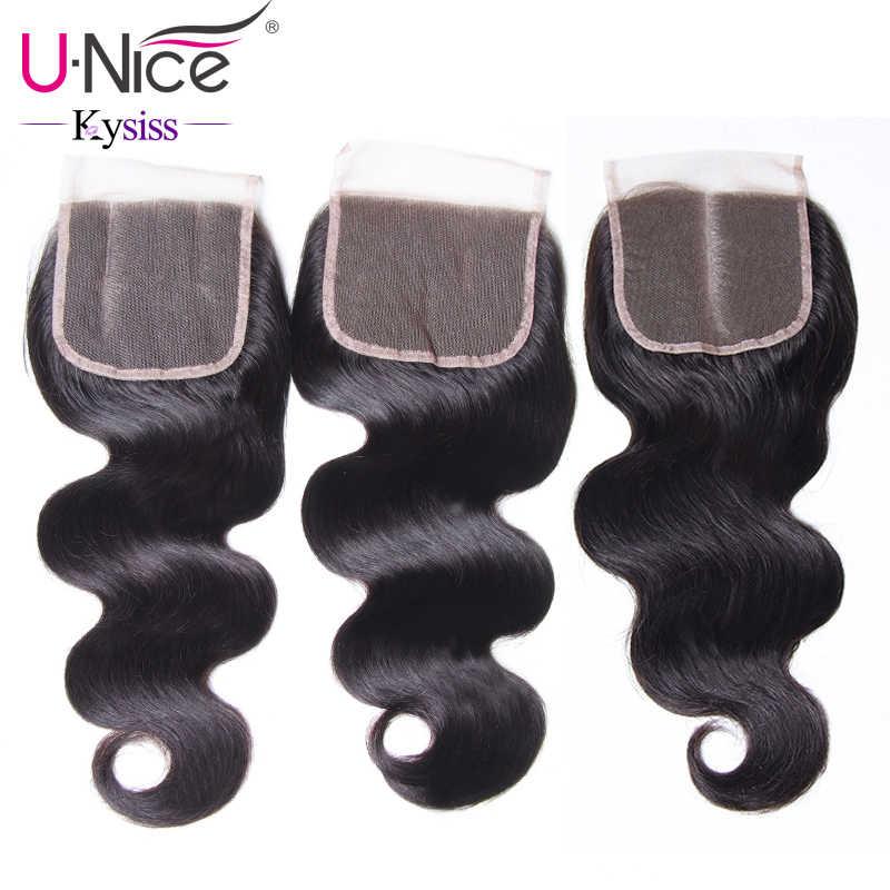 """Волосы UNICE 8A Kysiss Virgin серии бразильские волнистые кружевные закрытые 100% человеческие волосы кружева 10 """"-20"""" 120% плотность швейцарское кружево"""