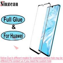 Sinzean 100 華為メイト 30 プロ/P30 プロ/メイト 20 プロ 3D フル接着剤湾曲縁強化ガラス画面保護フィルム