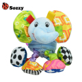 Sozzy Baby Vibrated Plush Animal Elephant Toy Rattle 15cm Soft Stuffed Crinkle Sound Multicolor Multifunction Toy