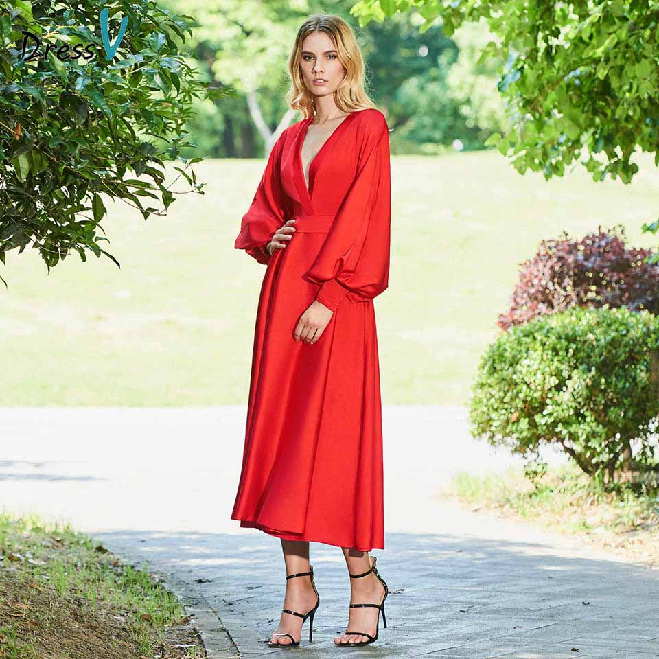 Dressv red sample evening dress v neck a line long sleeves zipper up tea-length wedding party formal dress evening dresses