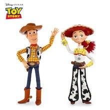 Figuras de acción de Disney Pixar Toy Story 3 4 para niños, Woody Jessie parlante, modelo de cuerpo de tela, muñecos de colección limitada de 40CM, regalos para niños
