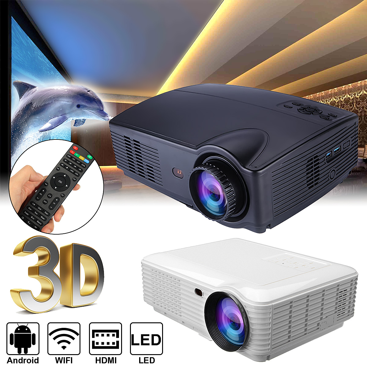 SV 328 WiFi version 4600 Lumens LCD Technology Smart Projector Digital Home Theater Projector Support audio / video TV