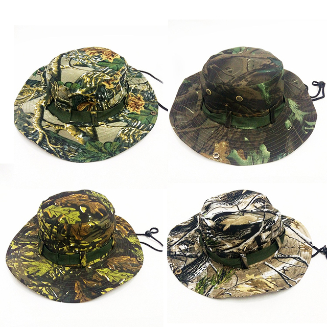 2423b4a149 2018 New Military Camouflage Boonie Hat Disguised Bucket Hat Men Tactical  Bucket Hat Hunting Hiking Fishing Cap