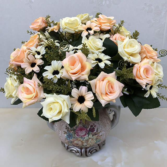 Artificial Plants 1 Bunch French Rose Floral Bouquet Silk Fake ...