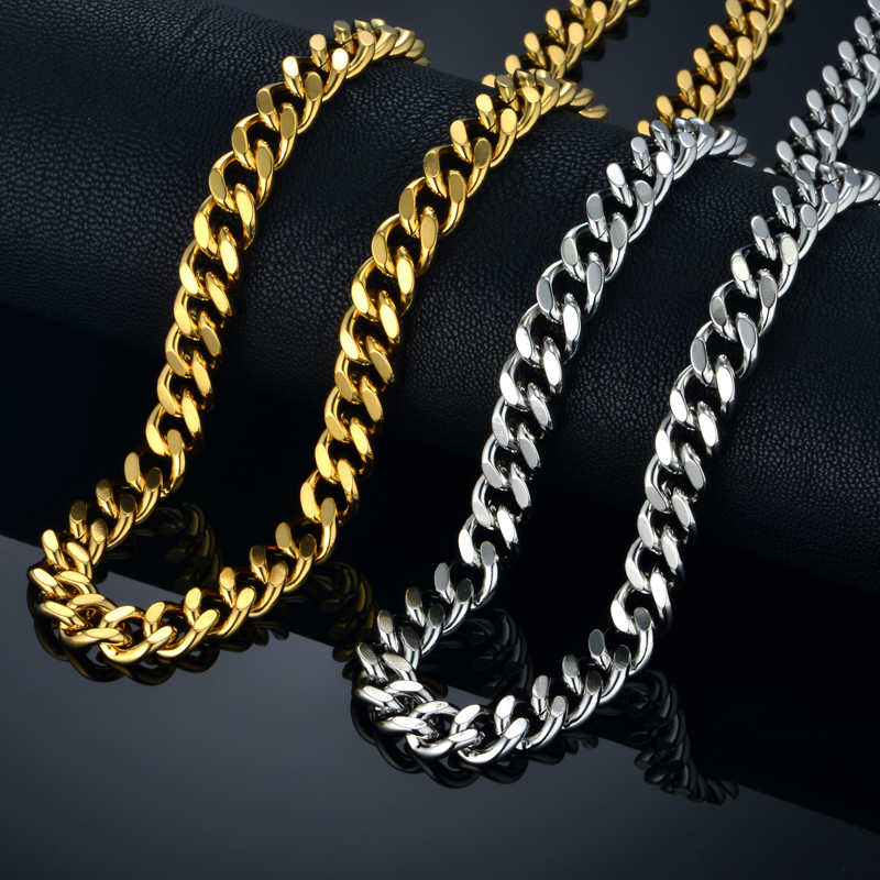 Neck Heavy Gold Chain For Men Big Long Necklaces Male Gold Color Hiphop Stainless Steel Cuban Chain Necklace 2017 Collares