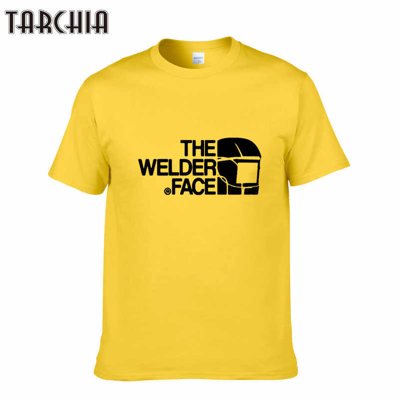 TARCHIA THE WELDER FACE Printed T-Shirt Summer Trendy Mens Hip Hop Short Sleeve Tee Tops Clothing Plus Size Cotton T Shirts