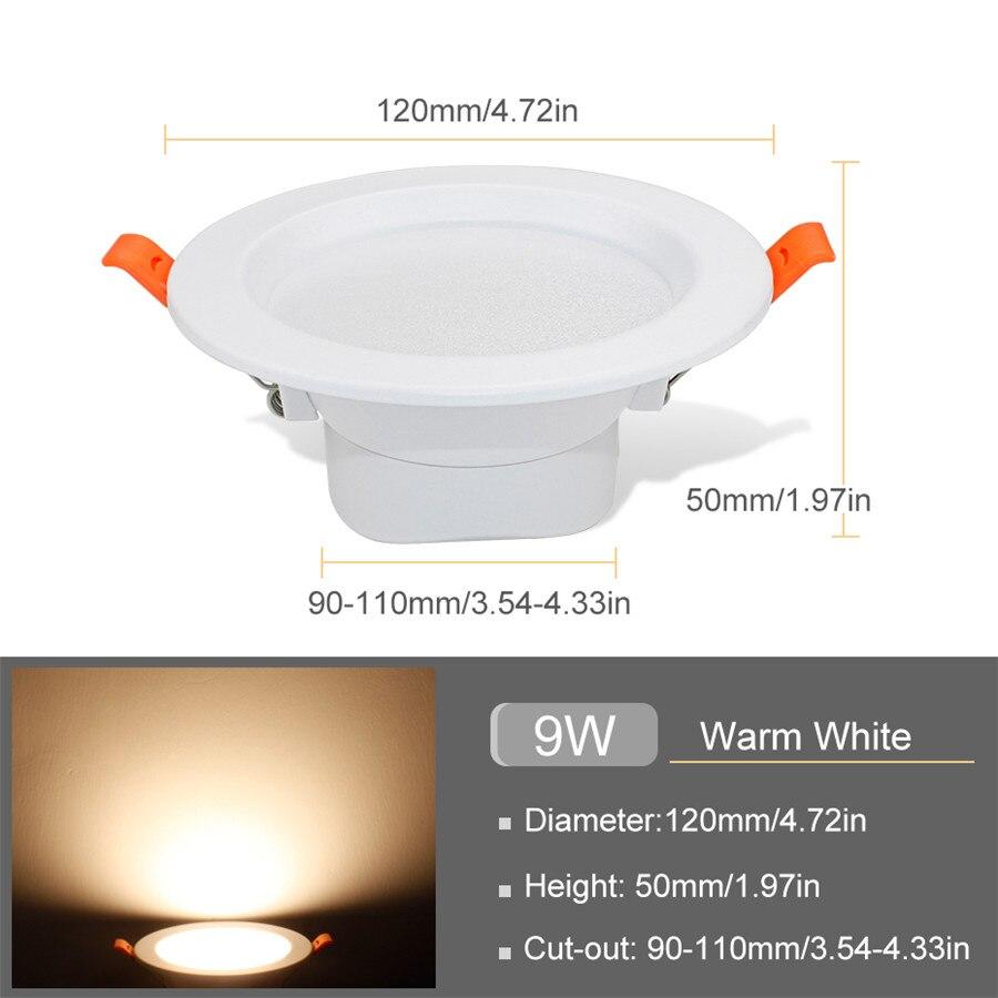 Pack of 10 LED Recessed Panel Light,3W 300LM Ultra Slim Round LED Downlight Spotlight Ceiling Light Warm White 3000K