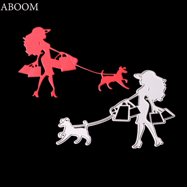 ABOOM Women&Dog Metal Steel Cutting Dies For Halloween Decoration DIY Scrapbooking Paper Card Photo Album Craft Embossing Mold