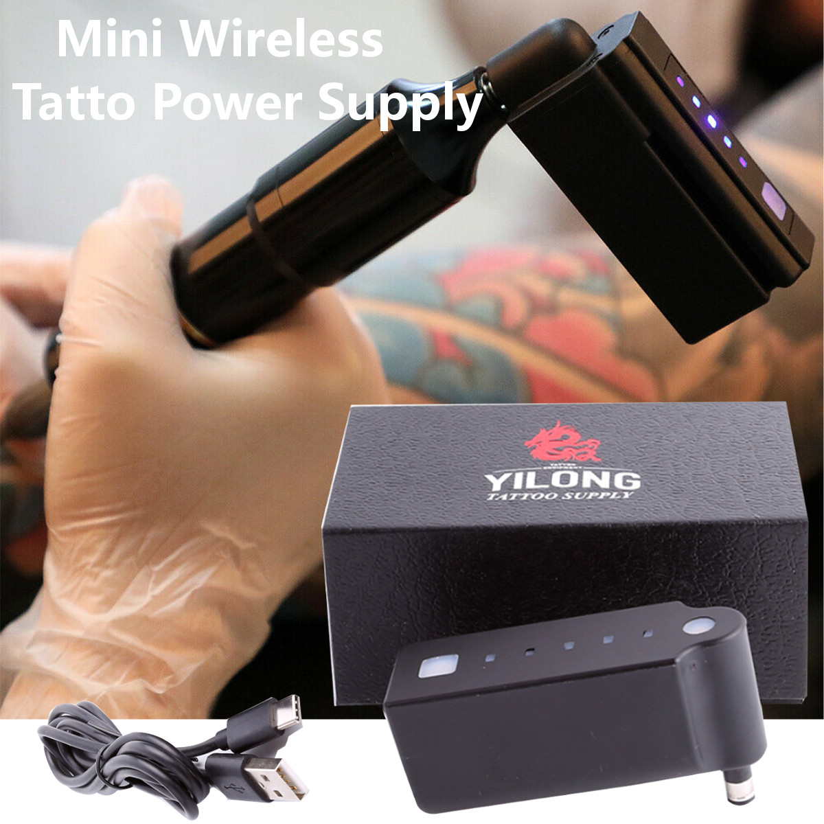 New Wireless Mini Tattoo Power Supply 2000mA RCA DC Connection Available Tattooing Permanent Makeup Equipment