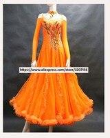 customize ballroom dance competition dresses waltz rhinestone ballroom dress ballroom dance competition dresses Orange color