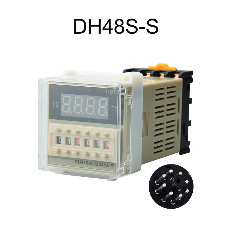 High quality DH48S-S repeat cycle time relay / timer with socket (AC 220V 110V 380V 36V DC/AC 24V 12V alternative zys48 s dh48s s ac 220v repeat cycle dpdt time delay relay timer counter with socket base 220vac