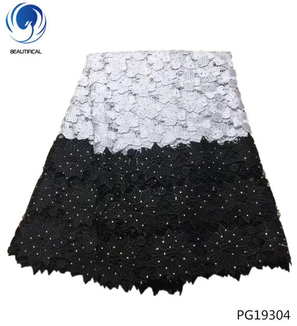 BEAUTIFICAL black and white lace fabric new arrival cord lace with rhinestones african lace wedding dresses 5 yards/piece PG193