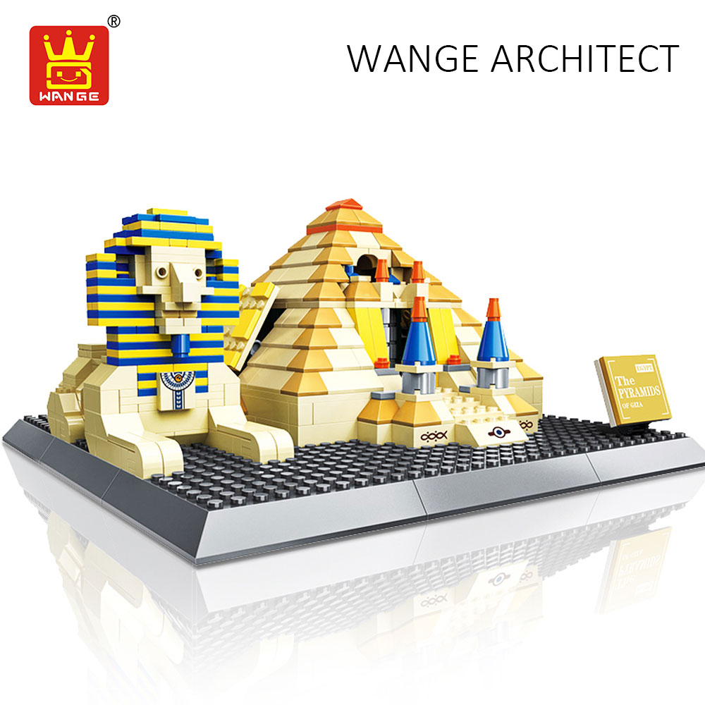 WANGE Building Pyramids Egypt Sphinx World Great Architecture Famous Blocks City Bricks Toys Kids Compatible Classic Collection world famous architecture 1977pcs wange blocks golden gate bridge model building bricks set diy assembly toys for children 8023
