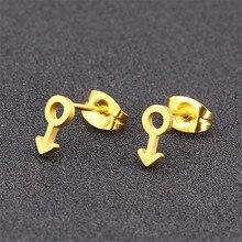 Fashion men earing black personality minimalist cute trendy women stud earrings stainless steel jewelry gold