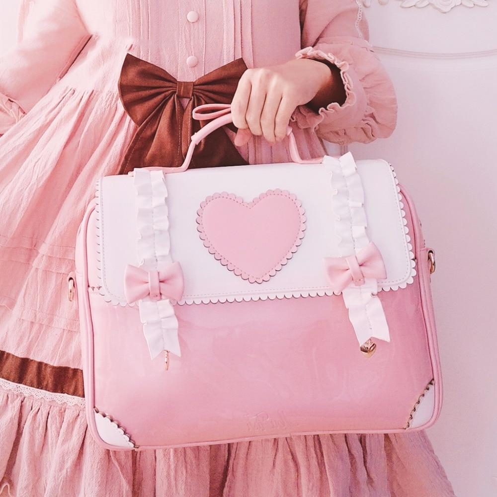 Sac à main Lolita femme de chambre sac à dos sac messager Itabag noeud coeur Transparent joli sac à bandoulière Cosplay femme japonaise