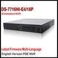 Hikvision NVR 16CH DS-7716NI-E4/16 P 16CH NVR с 16 POE Интерфейс Ip Видеокамера Видеорегистратор 4 SATA для HDD Поддержка Обновления