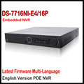 Hikvision nvr 16ch ds-7716ni-e4/16 p 16ch gravador de vídeo em rede nvr com 16 poe câmera ip da interface sata 4 para hdd suporte de atualização