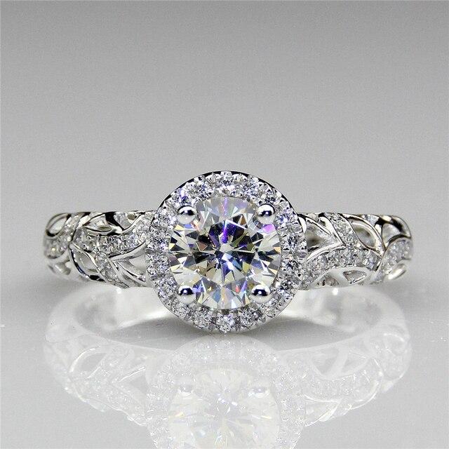 Круглый 1CT Halo ASCD Имитация Алмазный Кольцо Старинной Филигранной Акценты 925 Sterling Silver Diamond Обручальные Кольца