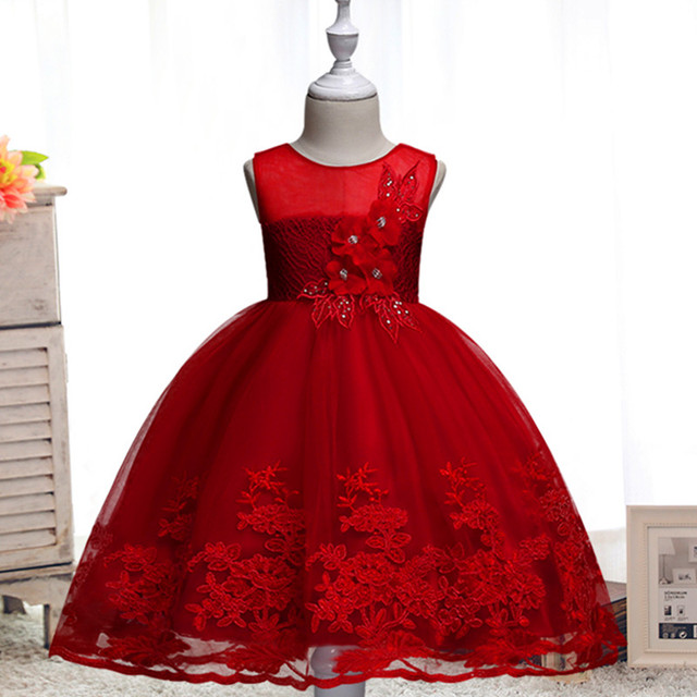 2019 Lace Sequins Formal Evening Wedding Gown Tutu Princess Dress Flower Girls Children Clothing Kids Party For Girl Clothes