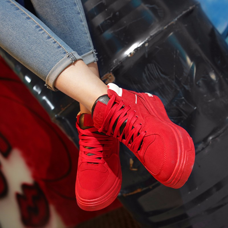 Casual Women Shoes Lace Up Breathable Platform High Top Casual Shoes KUYUPP 2016 Spring Autumn Fashion Lace Up Skate Shoes YD158 (35)