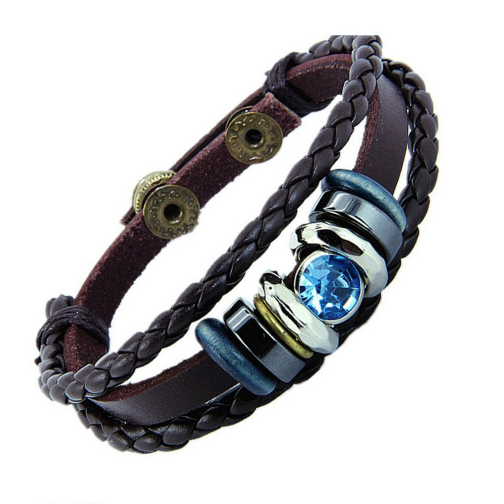 National Braided Leather Bracelet Leather Lovers Bracelets Color Blue Pink