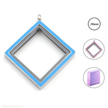 Wholesale 316L stainless steel 30MM Blue/Pink double-sided enamel square shape floating locket glass memory pendant