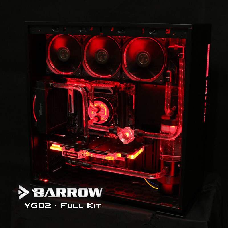 Barrow YG02 Set Completo hardtubes Kit di Raffreddamento Ad Acqua, 360/120mm Radiatori, D5 pompa e il serbatoio, RGB fan, CPU/GPU blocco di