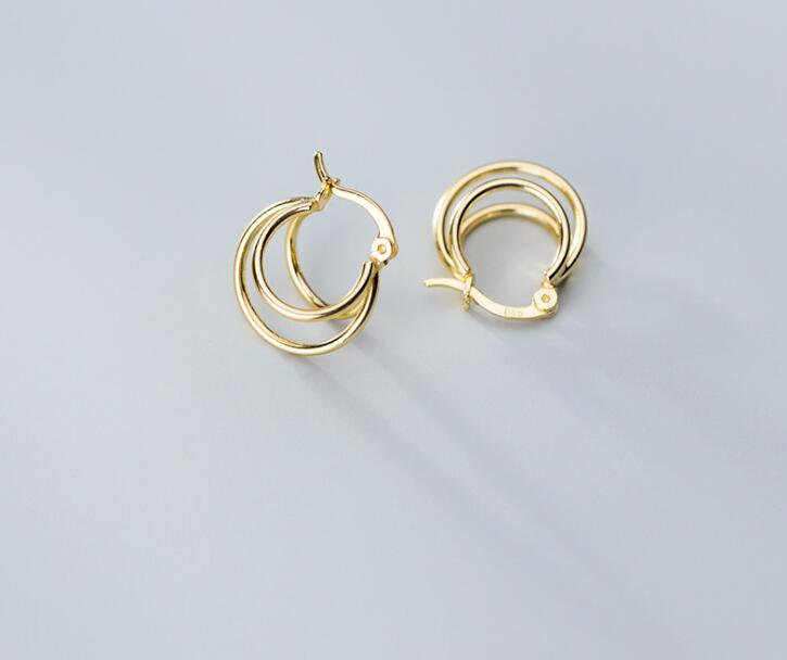 1pair Real. 925 Sterling Silver jewelry White/ Golds Open Multi-Circles 3-Rows layers Geometric Hoop Huggie Earrings GTLE2795
