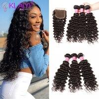 Klaiyi Hair Brazilian Deep Wave Bundles With Closure Free Part Human Hair Bundles With Closure 4pcs Remy Hair Weaves