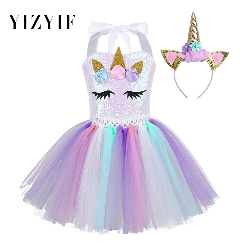 8ae04c9b81 YiZYiF Girls christmas dress Shiny Sequins Mesh Tutu Dress Halloween  Cosplay Cartoon Outfit Halter Neck 3D Flowers Hair Hoop