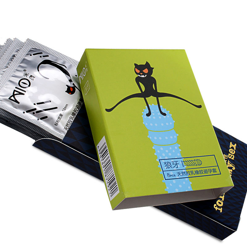 Mio <font><b>16</b></font> Pcs/Pack Dotted Condoms Mint Flavor Condoms For Men Sensitive Orgasm Stimulate Vaginal Penis Sleeve <font><b>Sex</b></font> <font><b>Toy</b></font> image