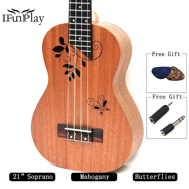 Musical Instruments Active High Quality 21 Soprano Ukulele Exquisite Ukelele Hawaiian Guitar Sapele Body Mahogany Fingerboard 42mm Slim Design Stringed Instruments