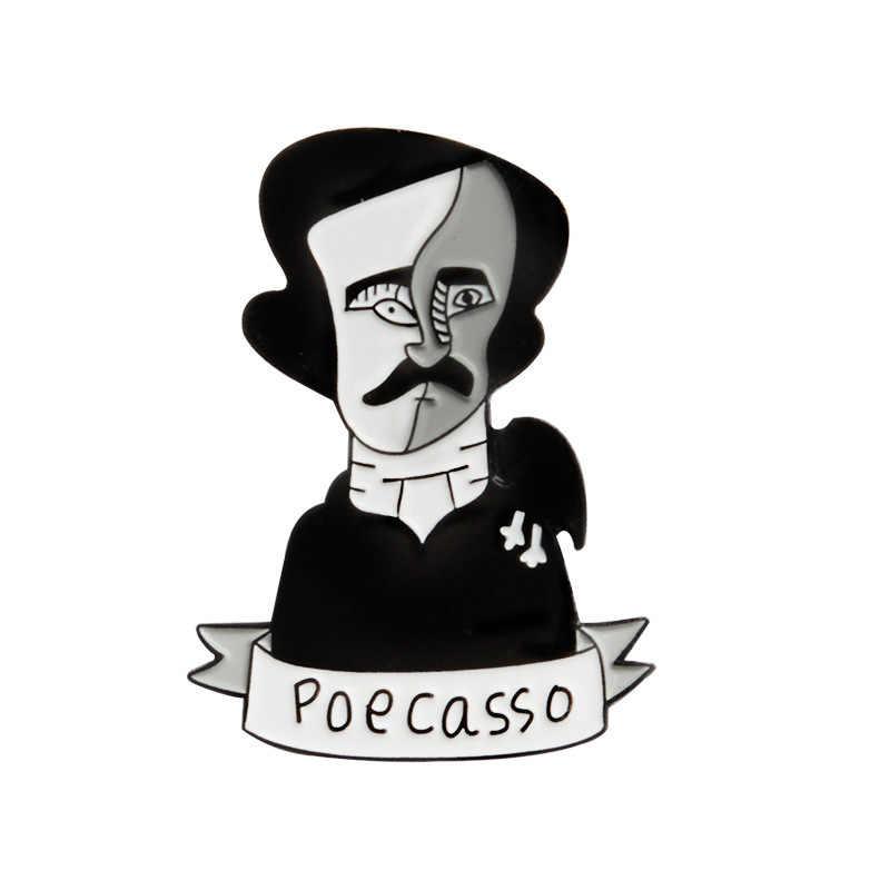 Lucu Gaya Seni Edgar Allan Poe Enamel Pin Dua Wajah Hitam Poecasso Gaya Bros Gesper Topi Ransel Kemeja kerah Perhiasan